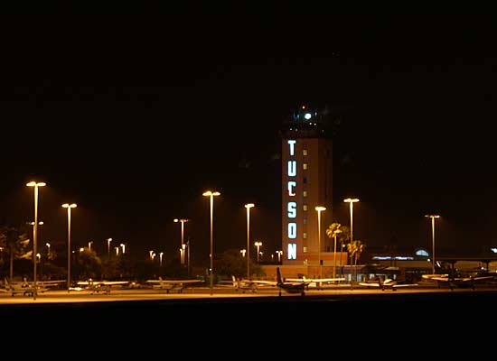 Tucson International Airport, General Aviation Apron (night)